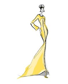 Yellow sketch dress