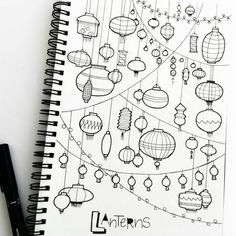 Doodle - Verzierungen Lettering doodle lampions How to build a Green-house Article Body: As with gar Doodle Drawings, Easy Drawings, Drawing Sketches, Drawing Ideas, Drawing Projects, Doodle Sketch, Sketching, Doodle Lettering, Hand Lettering