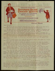 [The Saturday Blade and The Chicago Ledger agent solicitation], To: Sam Albert, July, 1911.