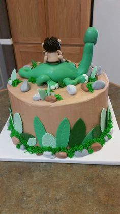 Backside of The Good Dinosaur cake. The Good Dinosaur Cake, Birthday, Desserts, Projects, Food, Tailgate Desserts, Deserts, Blue Prints, Essen