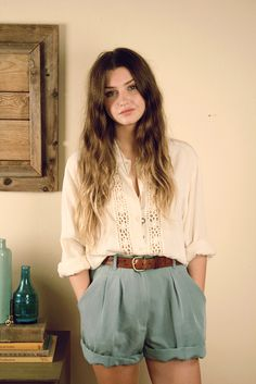 baggy cream blouse with baggy tailored shorts and brown belt - boho hippy vibe