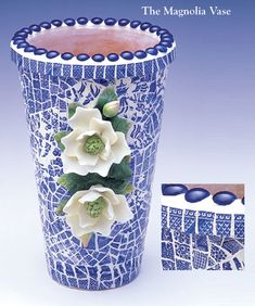Pique Assiette Custom Mosaic Gallery · The Magnolia Vase Mosaic Planters, Mosaic Vase, Mosaic Diy, Mosaic Garden, Mosaic Tiles, Tiling, Tile Crafts, Mosaic Crafts, Mosaic Projects