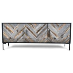 Modern 3 Door Credenza, The Amalfi 3 door credenza is perfect for any spaces, with recycled wood doors. Console Table Living Room, Living Room Tv, Living Room Furniture, Sideboard Decor, Modern Sideboard, Black Sideboard, Cool Furniture, Modern Furniture, Furniture Design