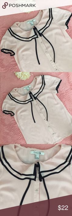 CHIFFON TOP BLUSH PINK & BLACK F21 💗Chiffon top. 💗Pink& Black 💗size:small 💗no flaws 💗perfect conditions, never used 💗smoke free home ✔️SHIPPING NEXT DAY✔️💋ALL OFFERS WELCOME💋 item#29 Forever 21 Tops Blouses