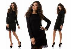 Средней длины шикарное платье с длинным рукавом и кружевным ободком черный