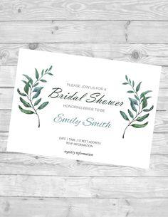 Bridal shower invitation - digital download - customized - 5 x 7 - herbs