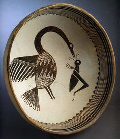 mimbres bowl  Native American, southwest (& northwest Mexico). See wikipedia, Mogollon culture.