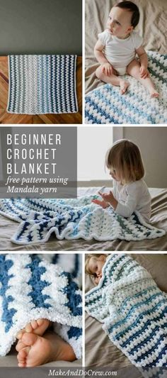 Whip up a beginner crochet baby blanket with this easy, fast and free pattern + tutorial. The stripes of granny stitches lend a vintage look to this otherwise modern blanket. Free pattern featuring Lion Brand Mandala Baby and Baby Soft Boucle. Crochet Baby Blanket Beginner, Crochet Baby Blanket Free Pattern, Afghan Crochet Patterns, Baby Knitting, Beginner Crochet, Granny Pattern, Knitting Patterns, Free Knitting, Crochet Stitches