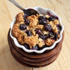 Baked French Toast topped with Blueberry Crisp. Vegan, easily GF.