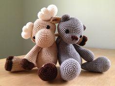 Milfred Moose + Timothy Bear amigurumi crochet pattern by AuroraGurumi