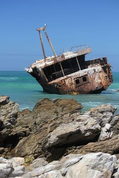 Wreck Cape l'Agulhas South Africa Weekend Breaks, Neverland, Cape Town, South Africa, Abandoned, Vacations, Boats, Coastal, Beautiful Places