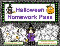 Homework Pass   This spooktacular Halloween Homework Pass Set is a great addition to your classroom. Quick and easy to use! Includes color and black and white set.