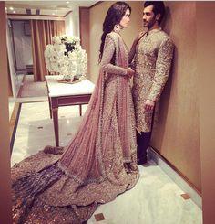 Pakistani couture Faraz manan model Shahzad Noor and Nadia Ali Pakistani Couture, Pakistani Bridal Wear, Pakistani Wedding Dresses, Pakistani Outfits, Indian Dresses, Indian Outfits, Desi Bride, Desi Wedding, Wedding Wear