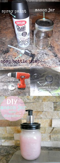 Dispensador de jabón reciclando un tarro de vidrio / Via http://www.littledekonings.com/