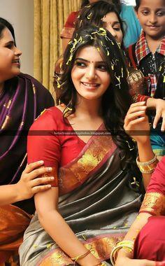 Samantha looking Gorgeous in Saree Samantha In Saree, Samantha Ruth, South Actress, South Indian Actress, Most Beautiful Indian Actress, Beautiful Actresses, Samantha Images, Indian Wedding Outfits, India Beauty