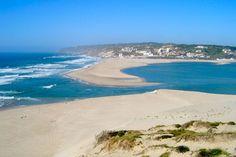 Foz do Arelho #beach, #Portugal.por un lado el atlantico,por el otro la laguna de Obidos