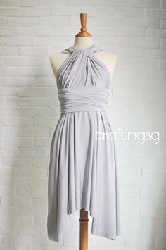 Brautjungfer Kleid Infinity Kleid grau/silber/Knie von craftingsg, $35,00