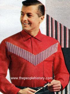 Oxford Cloth Pullover 1958 Price: $3.98  Cotton oxford cloth. Pullover with twill stripe insert. Permanent stays. Washable. Little or no ironing. Chest pocket. Colors are red, black, or white.