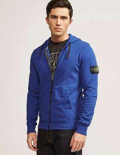 blue Stone Island Zip Through Hooded Dyed Sweatshirt