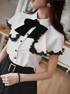 White Girly Shirt Collar Blouse