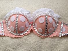 Minnie Mouse bra! Made by rave wear and tear! Instagram: ravewearandtear