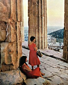 Women at the Parthenon in Athens, Greece (Kodachrome by Phillip Harrington and National Geographic photographer James P. Blair)