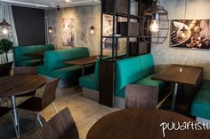 Lunch restaurant furniture and interiors. Woodwork by Puuartisti. Interior design by Nurkanvaltaajat.
