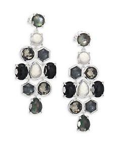 IPPOLITA - Rock Candy Black Tie Semi-Precious Multi-Stone & Sterling Silver Cascade Chandelier Earrings