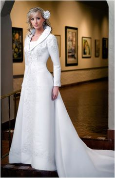 Wedding dress with over coat with long sleeves Eternity 8612