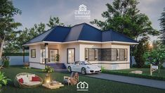 10 Contemporary House Designs With Floor Plan Perfect for Modern Family 2 Bedroom House Plans, Bungalow House Plans, Bungalow House Design, Modern Bungalow, Small House Design, Modern House Plans, Small House Plans, Modern House Design, Beautiful Small Homes