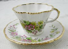 "Salisbury ""Blossom"" Ruffled Tea Cup and Saucer with Hand Painted Flowers, Vintage Bone China"