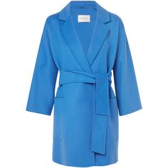 Max MaraWool And Cashmere-blend Coat (€2.410) via Polyvore featuring outerwear, coats, bright blue, long cashmere blend coat, cashmere blend coat, long blue coat, maxmara coat and blue coat