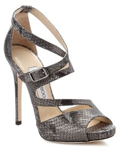 """Jimmy Choo """"Virtue"""" Twisted Snake Print Suede Sandals is on Rue. Shop it now."""
