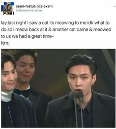 """Suho internally be like : """"B*tch u ain't ever giving a victory speech ever again..but I must keep smiling..I must support the retarded unicorn """" Lay: *proudly speaks*"""