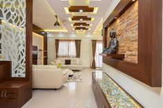 Nagesh and Anusha's Concorde Amber Home Interiors - Bonito Designs Living Room Partition Design, Pooja Room Door Design, Room Partition Designs, Ceiling Design Living Room, Bedroom False Ceiling Design, Living Room Designs, Wooden Partition Design, Latest False Ceiling Designs, Latest House Designs