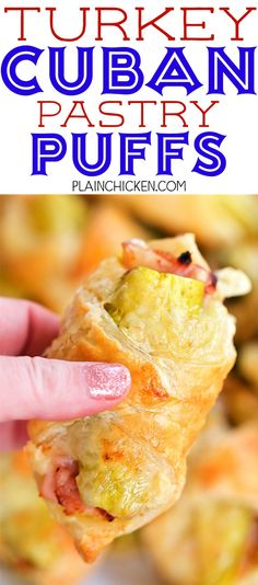 Turkey Cuban Pastry Puffs - great way to use up leftover turkey! SO delicious! Puff pastry filled with mustard turkey ham swiss cheese and pickles. Can make ahead and freeze unbaked. Great for parties tailgating lunch or dinner. These taste FANTASTIC Plain Chicken Recipe, Easy Chicken Pot Pie, Healthy Chicken, Chicken Salad, Homemade Ham, Leftover Turkey Recipes, Cuban Recipes, Yummy Recipes, Breads