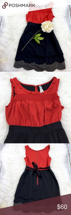"""💕SALE💕Anthropologie Maeve Silk Color Block Dress Gorgeous 💕NWOT Anthropologie Maeve 100% Silk Color Block Dress Coral & Black with Gray on bottom with tie in back and Pockets 34"""" from the top of the shoulder to the bottom 18"""" from armpit to armpit 30"""" tie waist Anthropologie Dresses"""