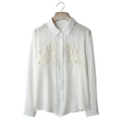 Lace Crochet White Shirt ($43) ❤ liked on Polyvore featuring tops, blouses, shirts, chicwish, white button down blouse, white lace top, white button up shirt, floral button up shirt and white blouse
