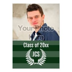 "Photo Graduation Monogram Laurel Green Stripe 4.5"" X 6.25"" Invitation Card Great Boys Graduation Announcements"