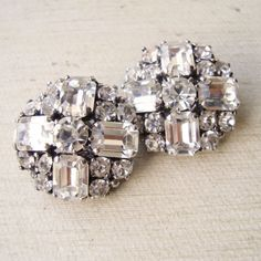 Vintage Art Deco Rhinestone Earrings Rhinestone Bridal Jewelry, Clip On Earrings 1940s