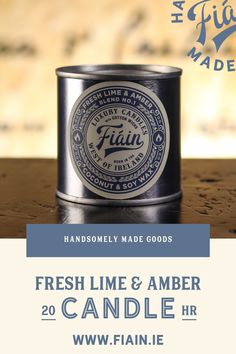 Fresh Lime & Amber has a super fresh masculine fragrance. It has a crisp, uplifting fragrance with a hint of aftershave, loved by both men and women. Notes of wild freesia, fresh lime and amber. Served up in a re-usable apothecary style tin with lever lid. Burn Time: 20+ hours. Top notes: Lime, Lemon. Middle notes: Wild Freesia, Lavender. Base notes: Amber, Sandlewood.