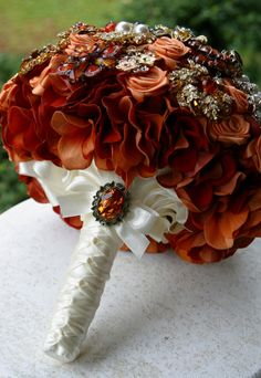 Love love love   Autumn brooch wedding bouquet Burnt orange amber by annasinclair, $75.00
