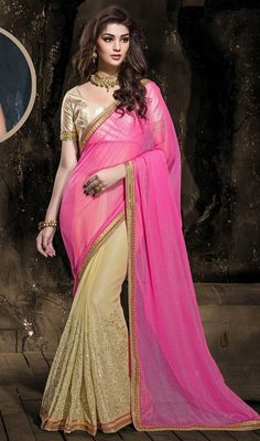 Savor the adulation that breeze your way dolled up in this pink and beige color chiffon half n half sari. The gorgeous lace and resham work a intensive attribute of this attire. #chiffonsarees #womensari #indiansaree