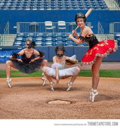 Baseball Ballet...I played softball as a catcher and took ballet together for years...I knew they were connected somehow!