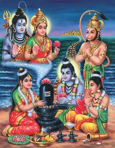 Lord Rama and Goddess Seetha worshiping Shiva Linga with Lakshmana and Jai Hanuman to access the Blessings directly from Lord Shiva.