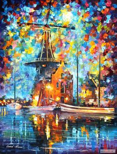 A MILL NEAR AMSTERDAM — PALETTE KNIFE Oil Painting On Canvas By Leonid Afremov. Very low starting bid from 1 USD. #art #afremov #painting #paintings #walldecor #wallart #artwork #pic #picture #fineart #landscape #beautiful