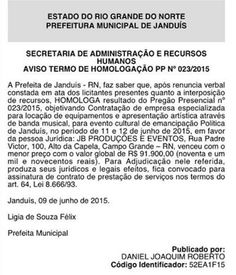 RN POLITICA EM DIA: JANDUÍS: ESTADO DE CALAMIDADE E PREFEITURA VAI GAS...