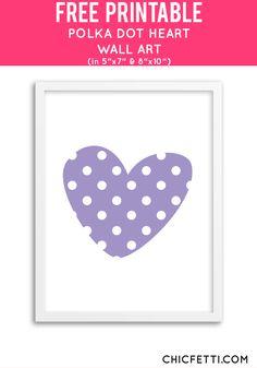 Free Printable Polka Dot Heart Art from @chicfetti - easy wall art DIY