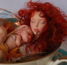 Mini Sculpture, Art Dolls in Denver. fairy polymer clay doll.