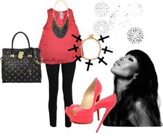 """Coral and black"" by andichula on Polyvore"